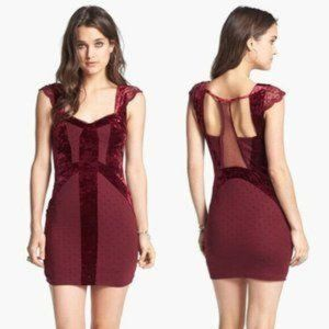 Free People Flocking Red Velvet Lace Bodycon Dress